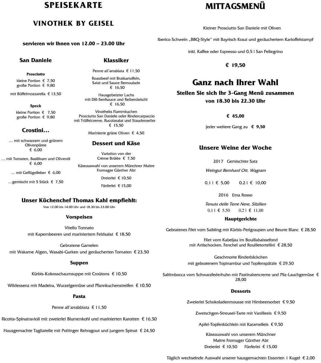 Меню ресторана Vinothek by Geisel