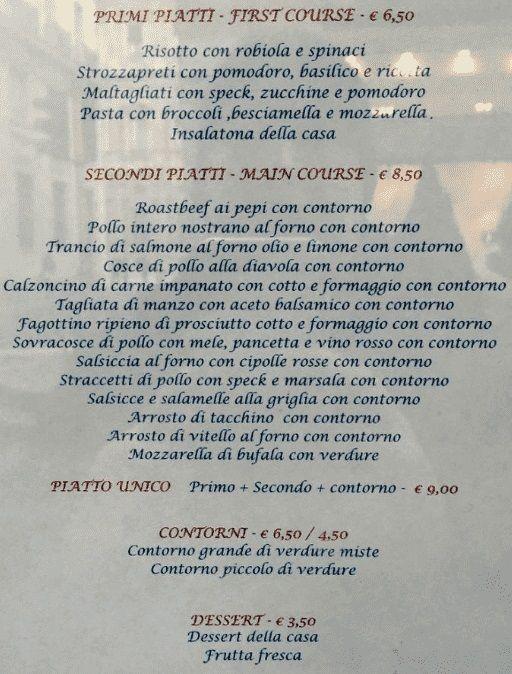 Меню Antica Trattoria dei Magnani Al Cantinone