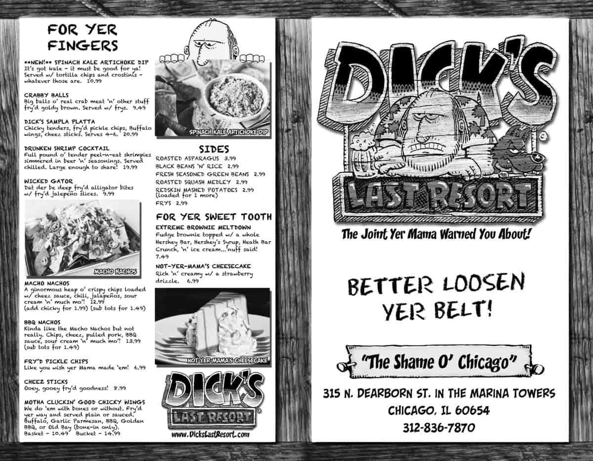 Меню ресторана Dick's Last Resort