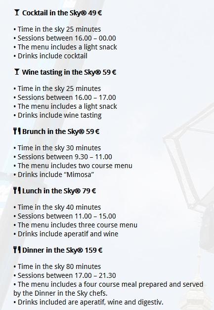 Меню ресторана Dinner in the Sky