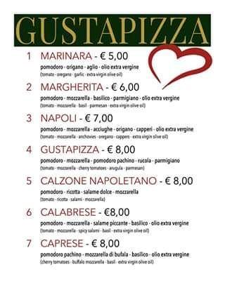 Меню пиццерии Gustapizza