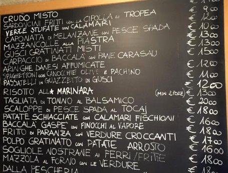 Меню ресторана Il Pescato del Canevone