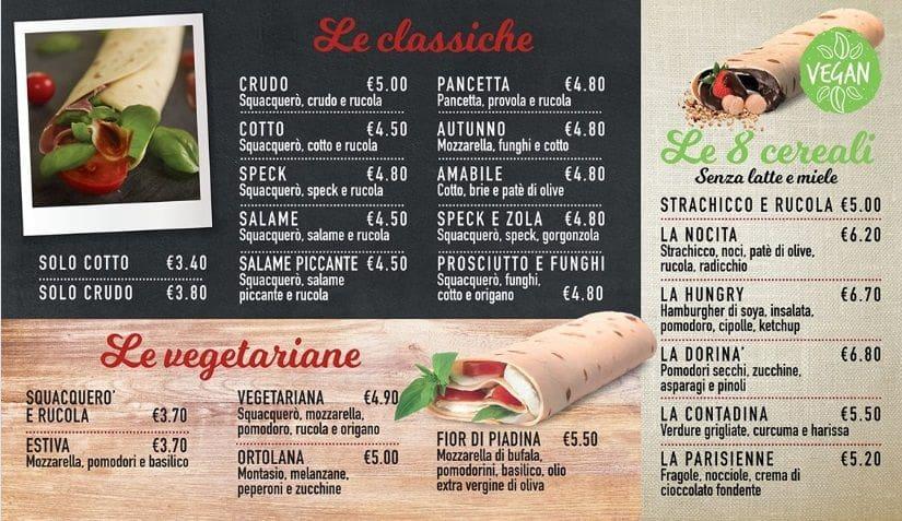 Меню кафе La Caveja Piadineria