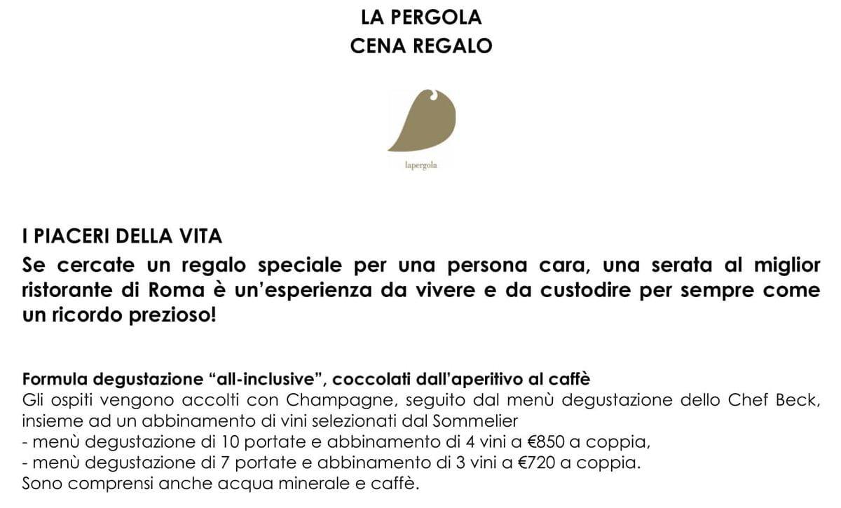 Меню ресторана La Pergola