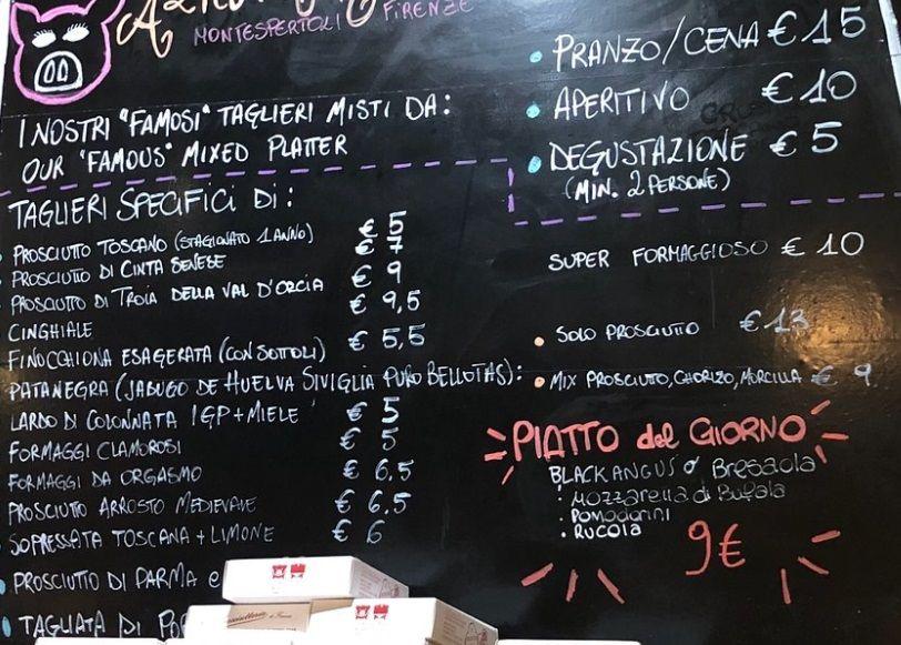 Меню кафе La Prosciutteria Milano Brera