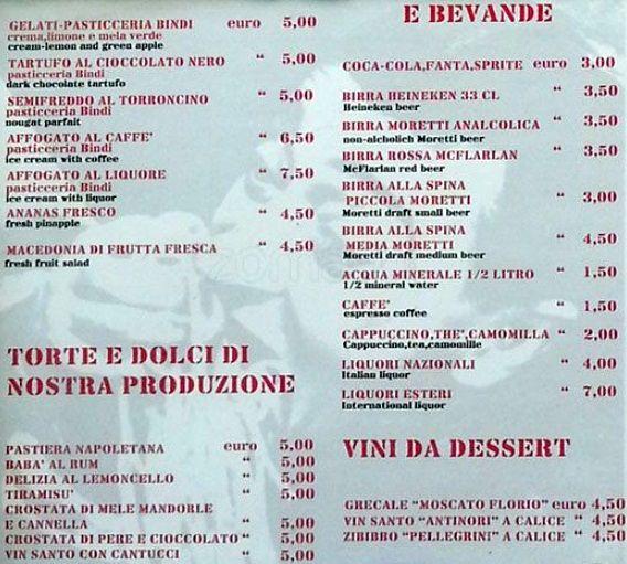 Меню кафе Osteria Al 29