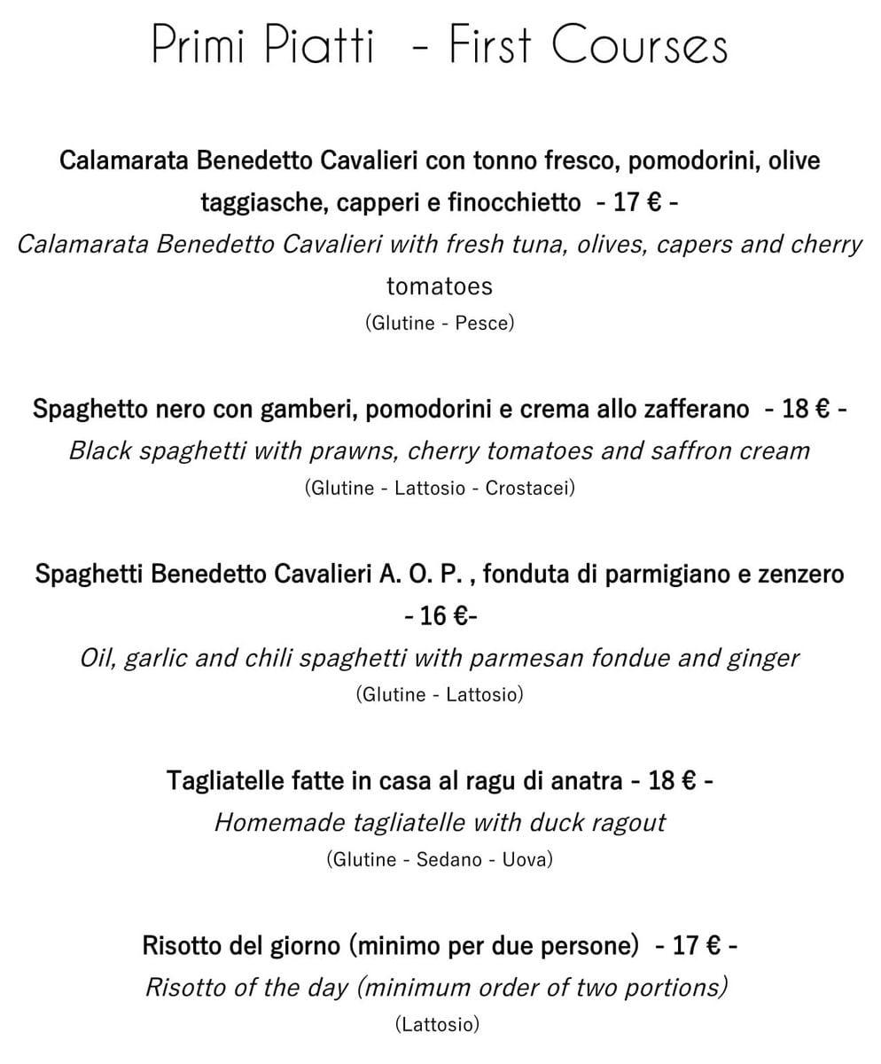 Меню ресторана Osteria al Cantinon