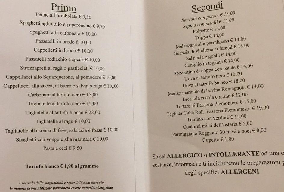 Меню ресторана Osteria Io e Simone