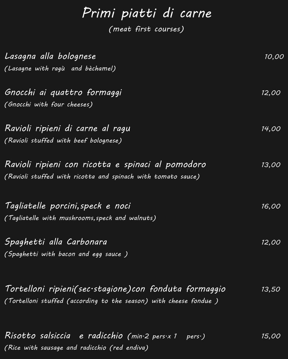 Меню ресторана Osteria La Lanterna da Gas