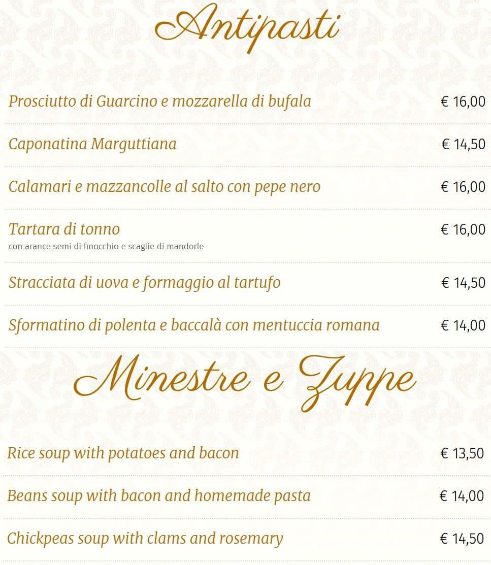 Меню ресторана Osteria Margutta