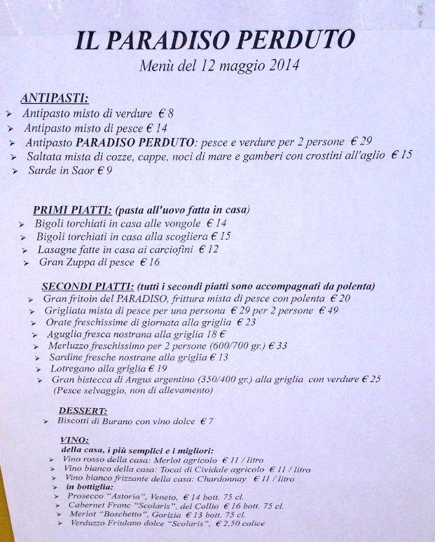 Меню ресторана Paradiso Perduto