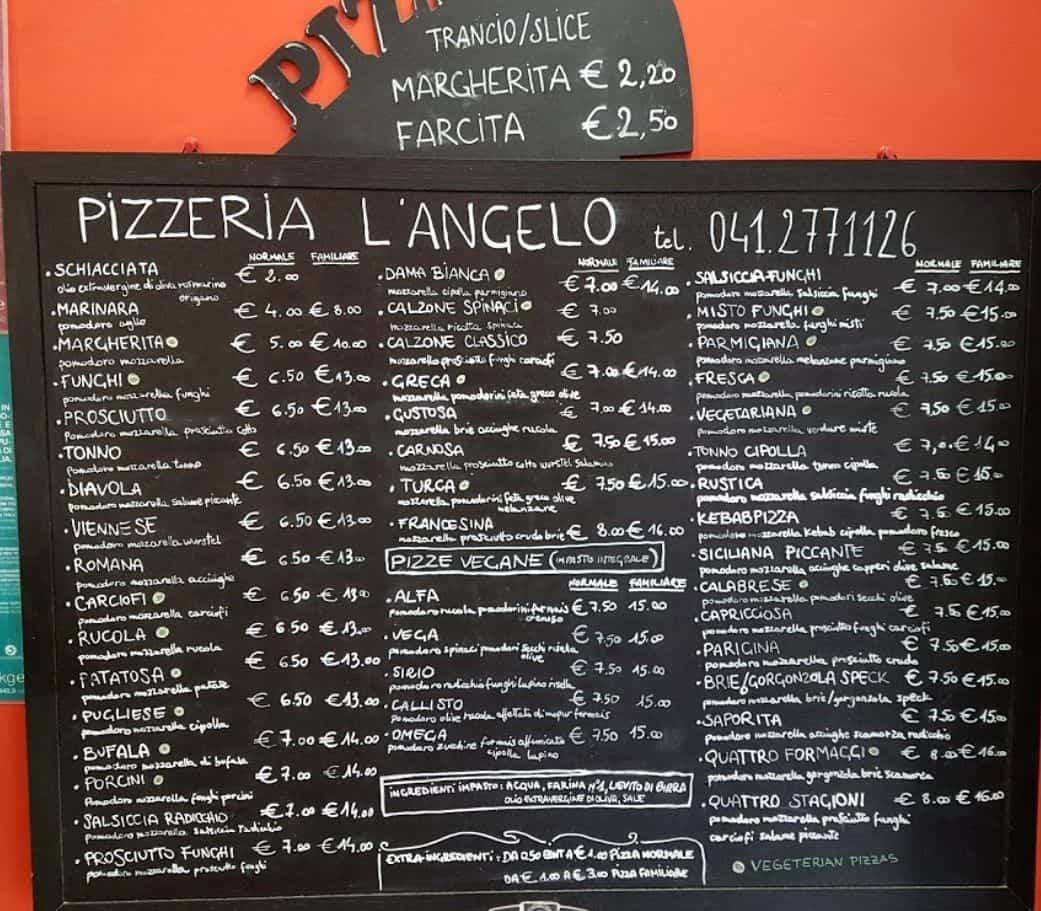 Меню пиццерии L'Angelo