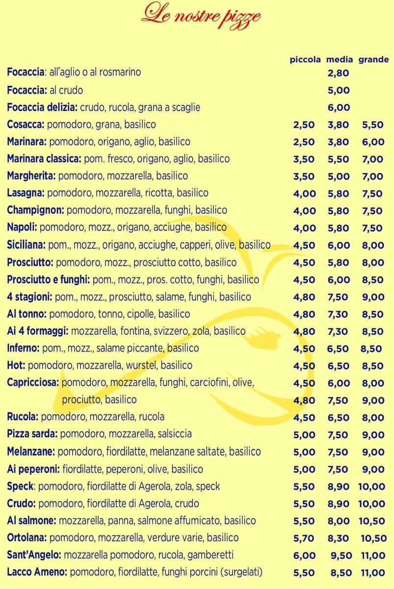 Меню Pizzeria Piccola Ischia