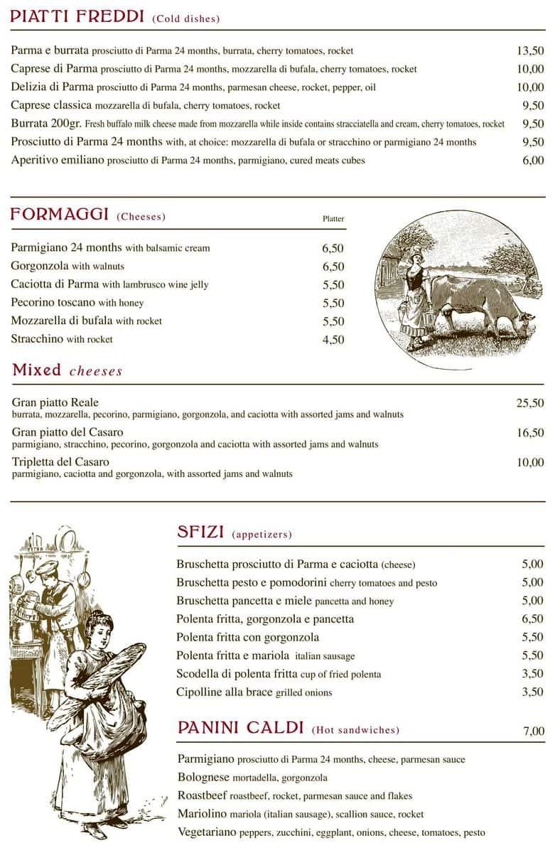 Меню ресторана Salsamenteria di Parma