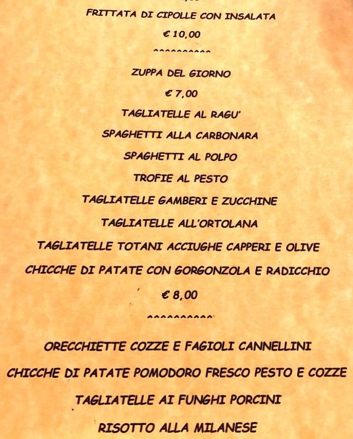Меню ресторана San Tomaso
