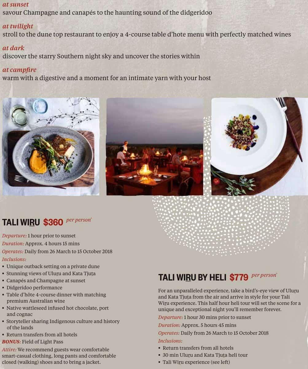 Меню ресторана Tali Wiru