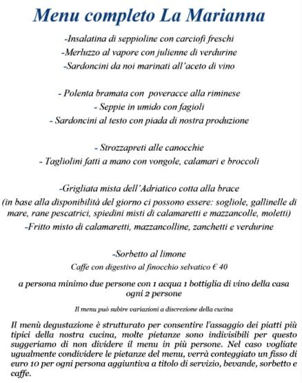 Меню ресторана Trattoria La Marianna