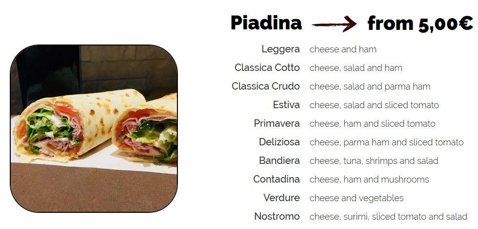 Меню кафе We love Italy