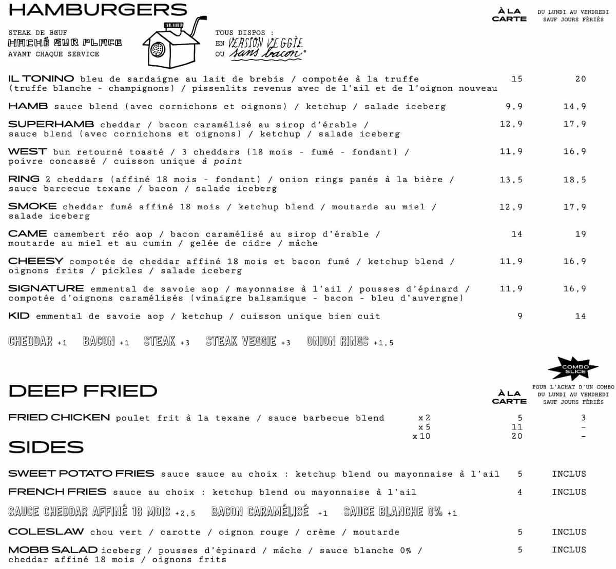 Меню кафе Blend Hamburger Argout