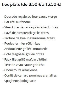 Меню кафе Le Bouillon Chartier
