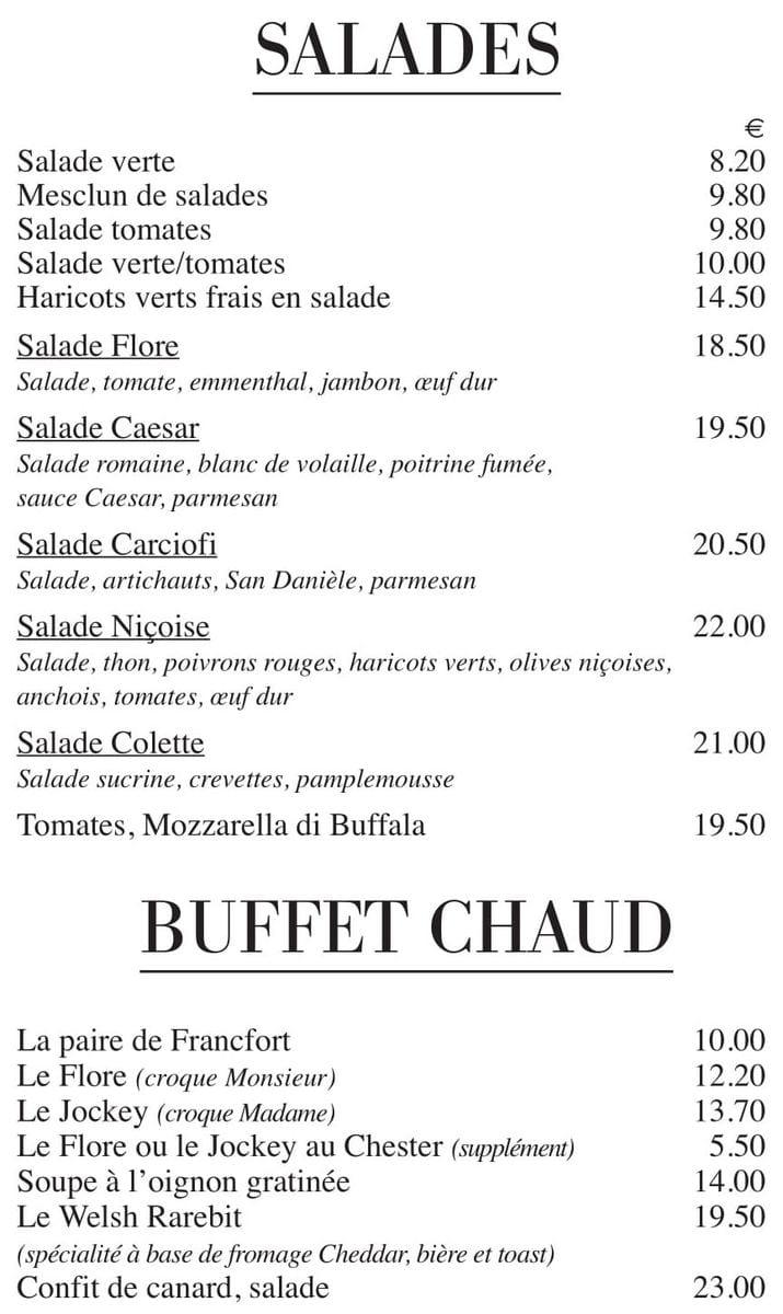 Меню Cafe de Flore