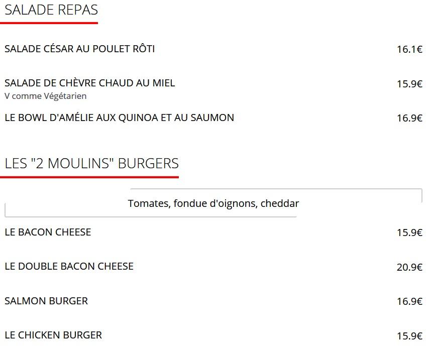 Меню Cafe des Deux Moulins