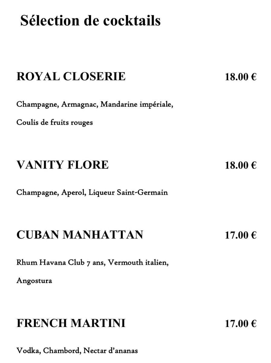 Меню кафе La Closerie des Lilas