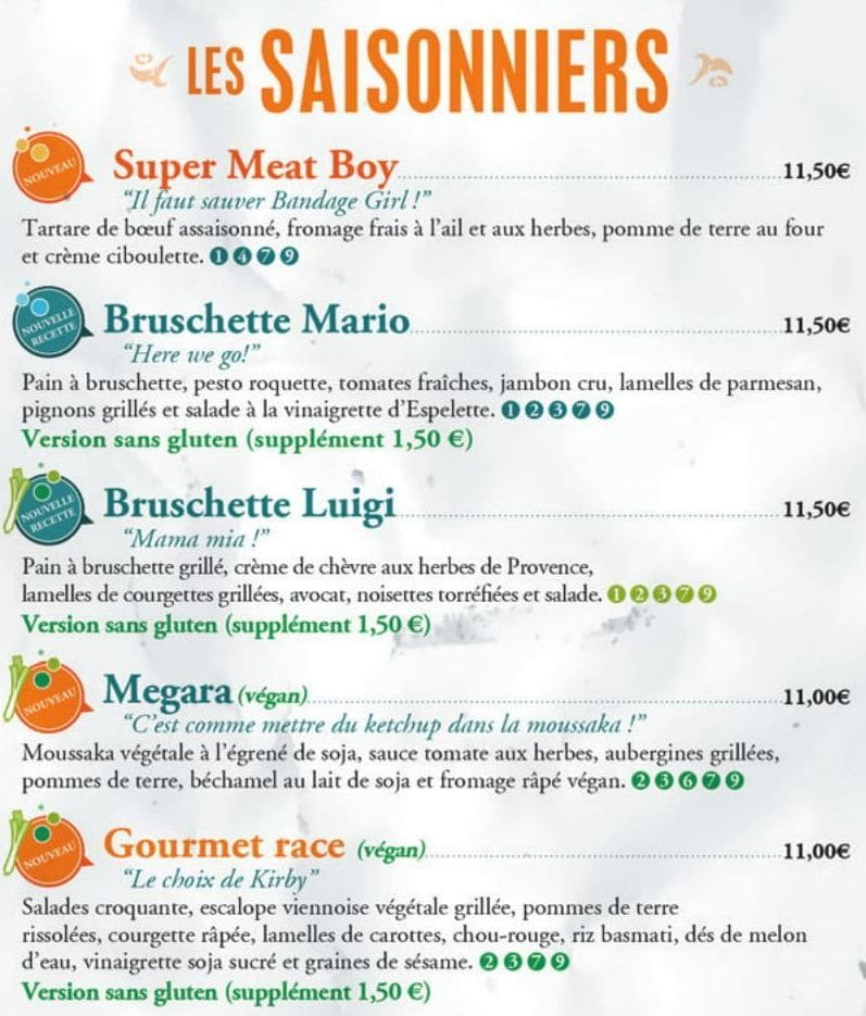 Меню ресторана Dernier bar avant la fin du monde
