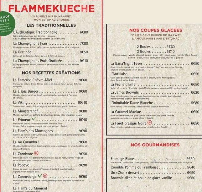 Меню кафе Flam's