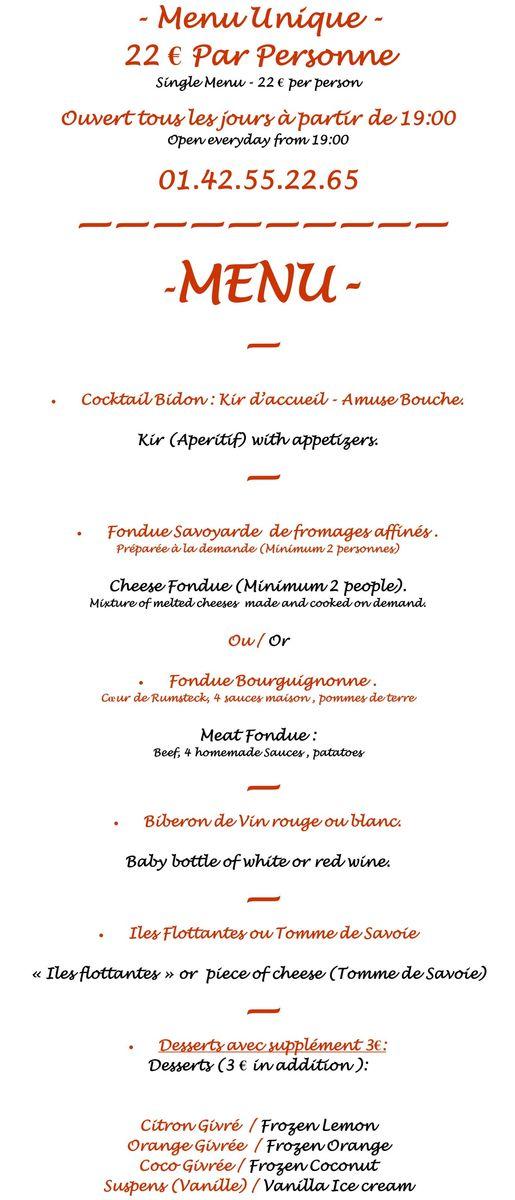 Меню кафе Le Refuge des Fondus