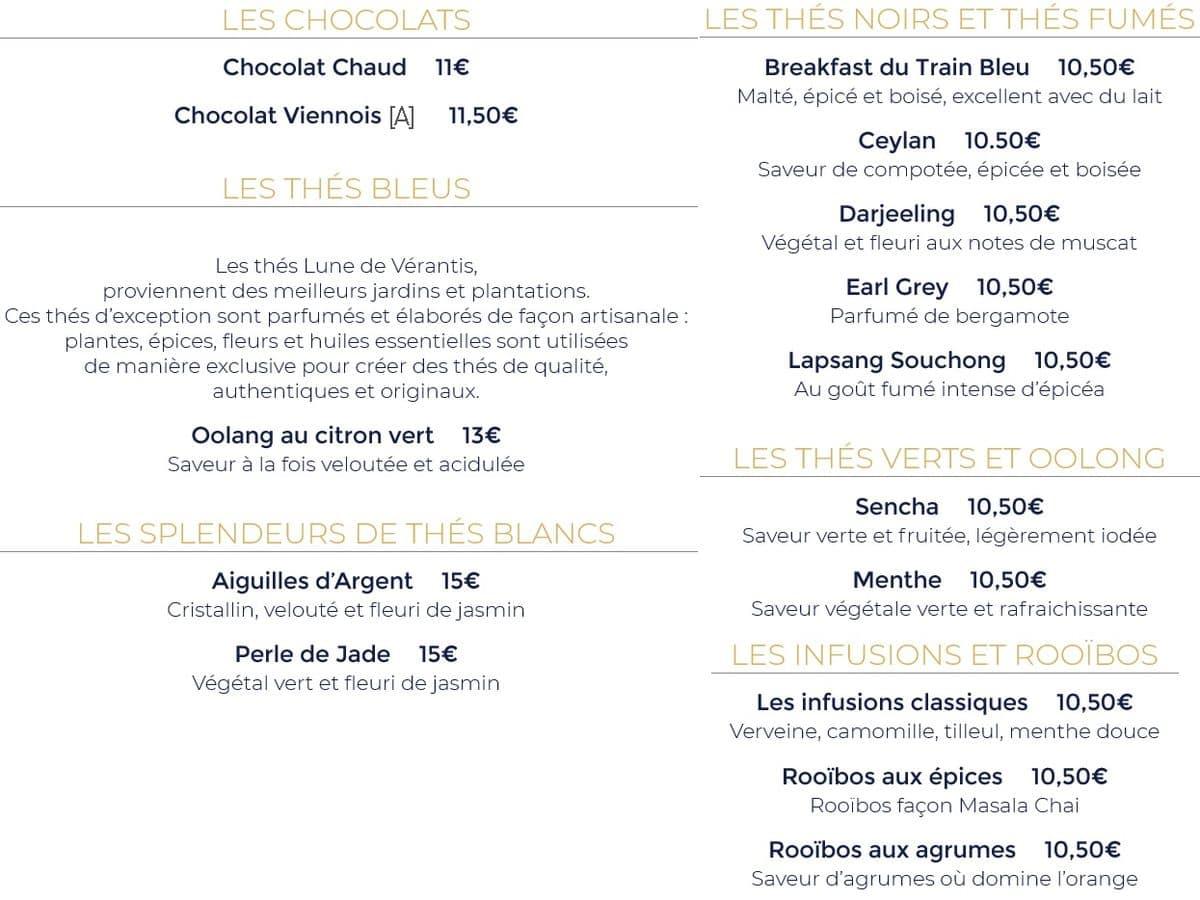 Меню ресторана Le Train Bleu