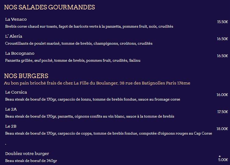 Меню ресторана Le Wagon Bleu