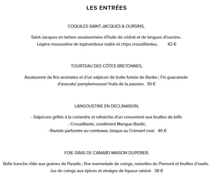 Меню ресторана Les Climats
