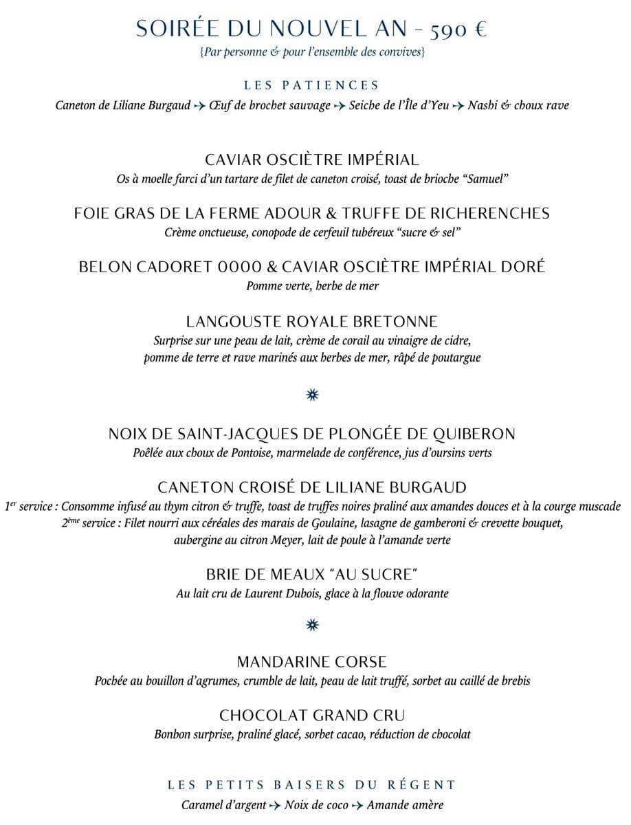 Меню ресторана Tour d'Argent