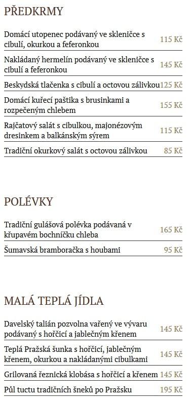 Меню ресторана Baráčnická Rychta