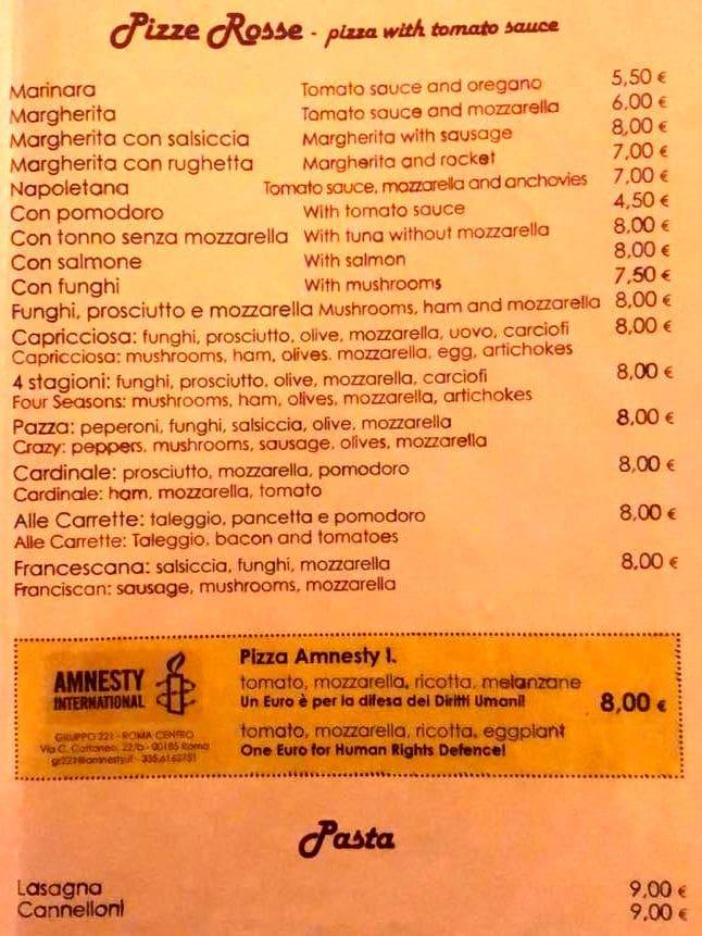 Меню пиццерии Alle Carrette
