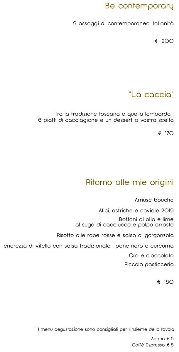 Меню ресторана Enrico Bartolini