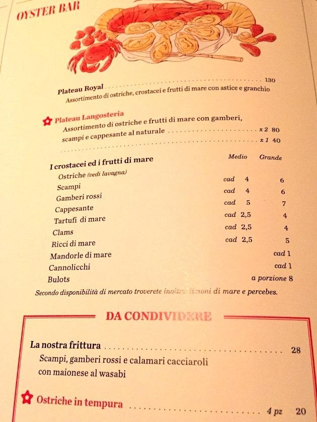 Меню рыбного ресторана Langosteria