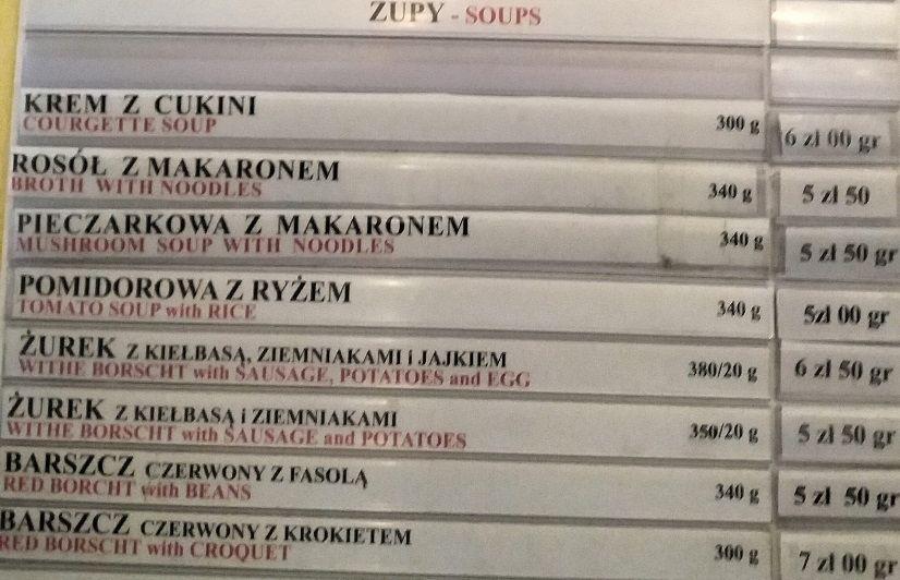 Меню Bar Mleczny