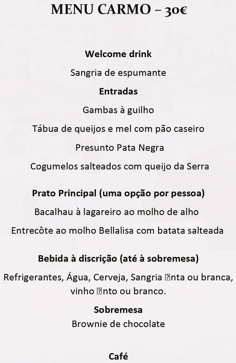 Меню ресторана Bellalisa Elevador