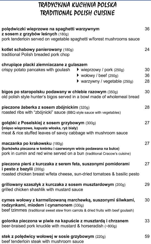 Меню ресторана Czarna Kaczka The Black Duck