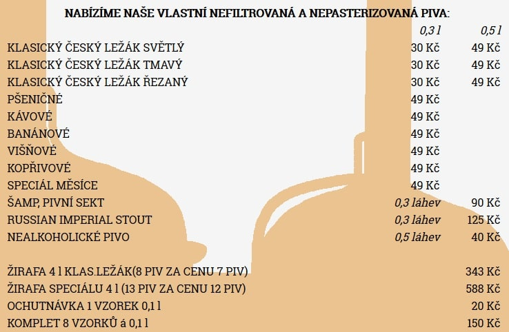 Цены пивного ресторана Pivovarský dům