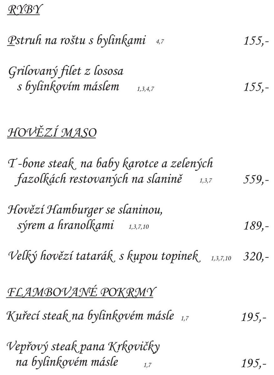 Меню Restaurace Ve Dvoře