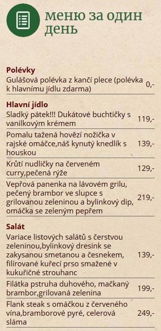 Меню ресторана Smíchovský pavilon