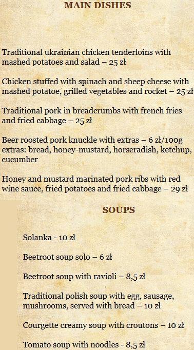 Меню ресторана Szynk