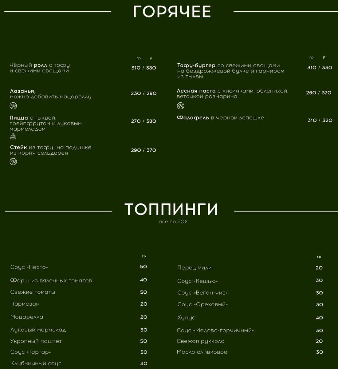 Меню кафе Укроп